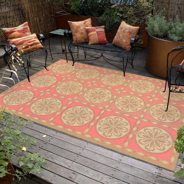 Coeur Tile Pink/Green Indoor/Outdoor Area Rug by Highland Dunes
