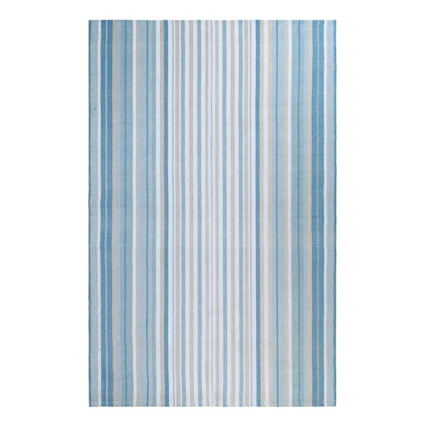 Cirrus Stripe Hand-Woven Blue Indoor/Outdoor Area Rug by CompanyC