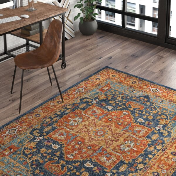 Battista Blue/Orange Area Rug by Trent Austin Design