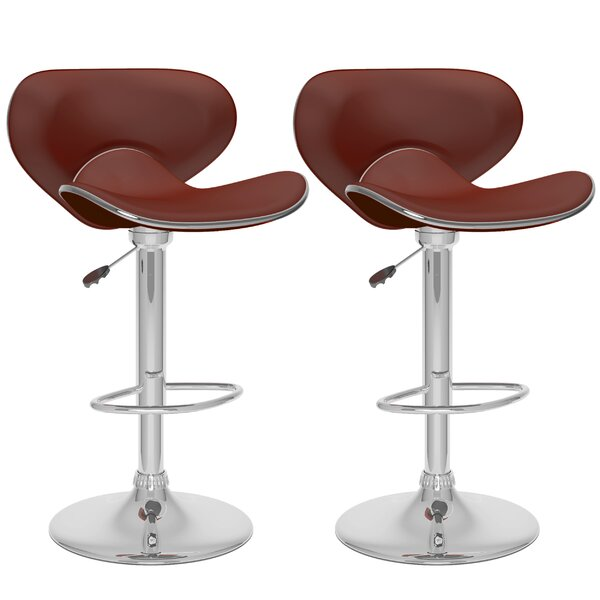 Deeds Adjustable Height Swivel Bar Stool (Set of 2) by Orren Ellis