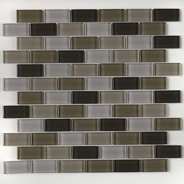 Geneva Brick-Joint 12 x 13 Glass Mosaic Tile in Classic Soft Cashmere by Itona Tile