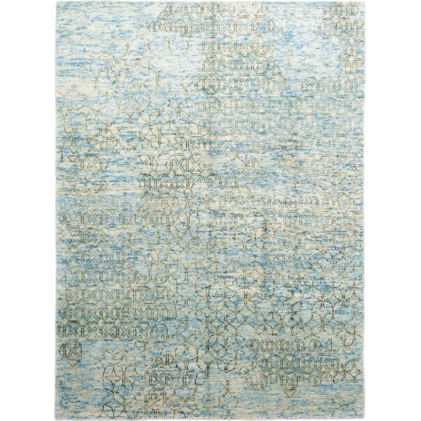 One-of-a-Kind Dahle Hand-Knotted Wool Blue Indoor Area Rug by Isabelline