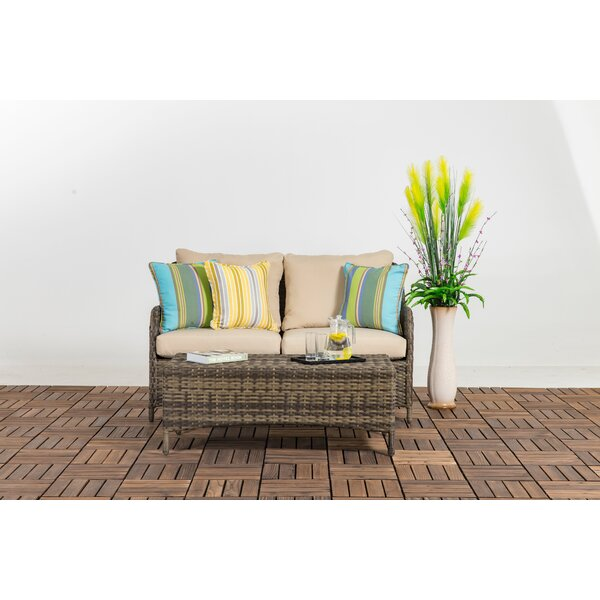 Buntingford Patio 2 Piece Rattan 2 Person Seating Group with Cushions by Highland Dunes