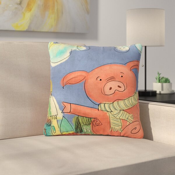 Carina Povarchik Happy Urban Pig Outdoor Throw Pillow by East Urban Home