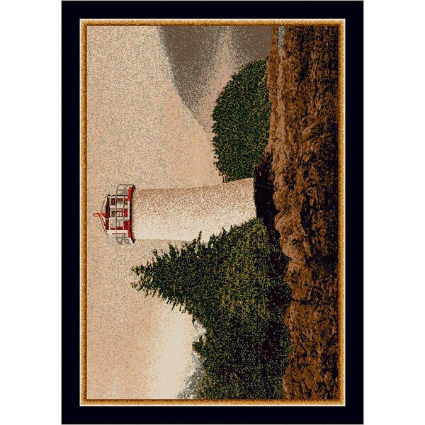 Fall Seasonal Brown/White Cape Lighthouse Area Rug by Milliken