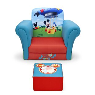 Mickey Mouse Upholstered Kids Club Chair and Ottoman by Delta Children