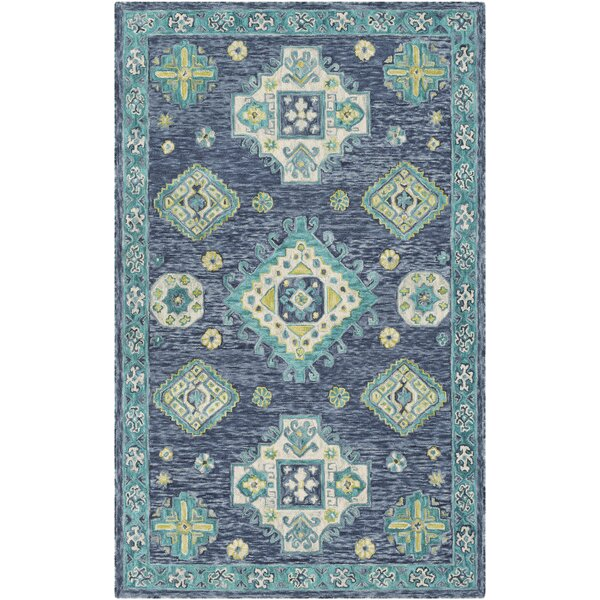 Alongi Hand Hooked Wool Navy/Turquoise Area Rug by Bungalow Rose