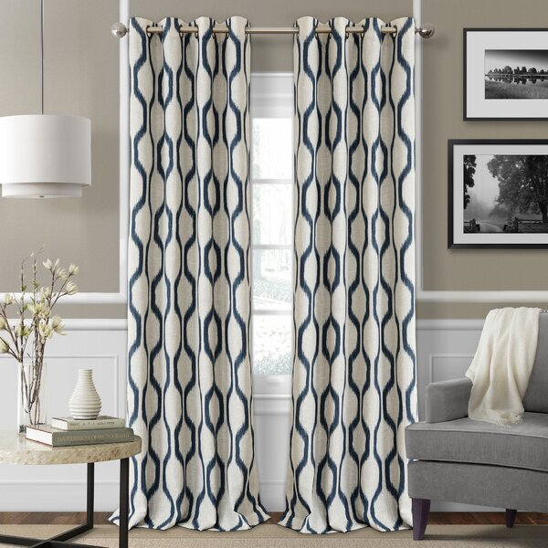Valdovinos Geometric Blackout Grommet Single Curtain Panel by Mercury Row