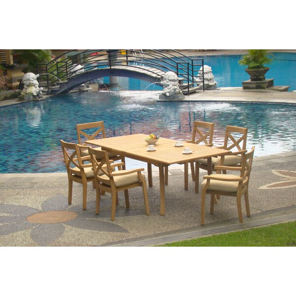 Davin Luxurious 7 Piece Teak Dining Set by Rosecliff Heights