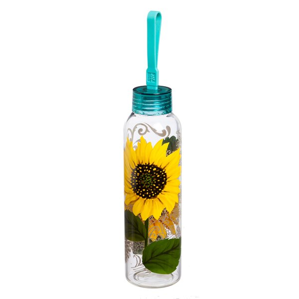 Adreanna Sunflower 18 oz. Glass Water Bottle by August Grove
