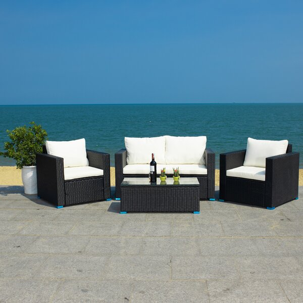 Machie 4 Piece Rattan Sofa Seating Group with Cushions by Latitude Run Latitude Run
