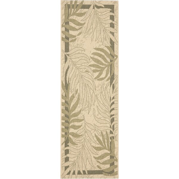 Amaryllis Cream/Green Indoor/Outdoor Rug by Bay Isle Home