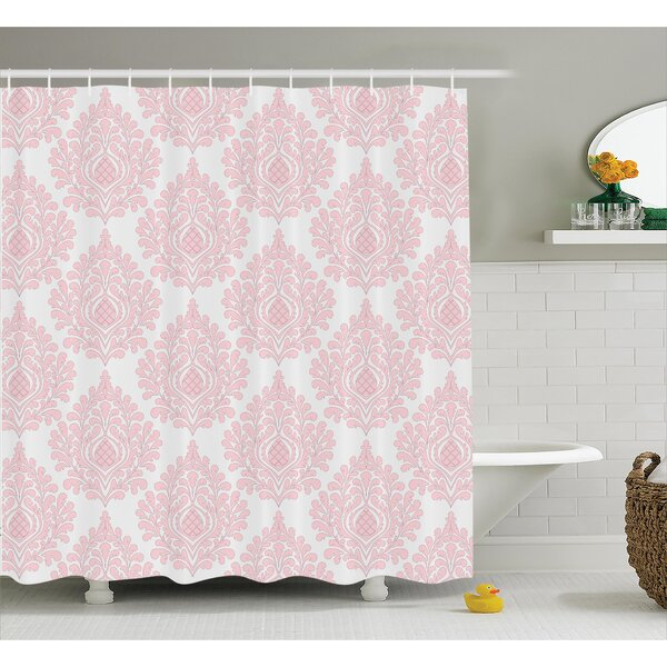 Baby Pink Floral Shower Curtain by East Urban Home