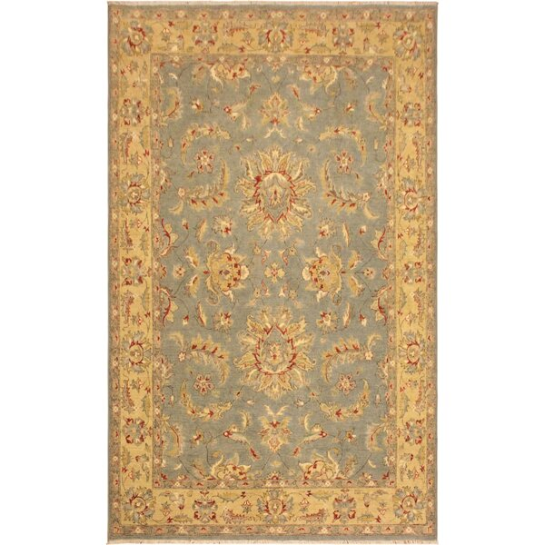 One-of-a-Kind Dorn Hand-Knotted Wool Blue/Yellow Area Rug by Isabelline