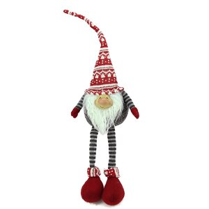 Portly Smiling Hanging Leg Gnome Christmas Decoration with Christmas Snow Cap