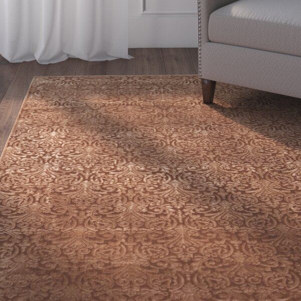 Boone Damask Brown Area Rug by Charlton Home