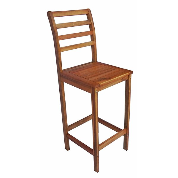 Arvin Eucalyptus Wood 47.5 Patio Bar Stool (Set of 2) by August Grove