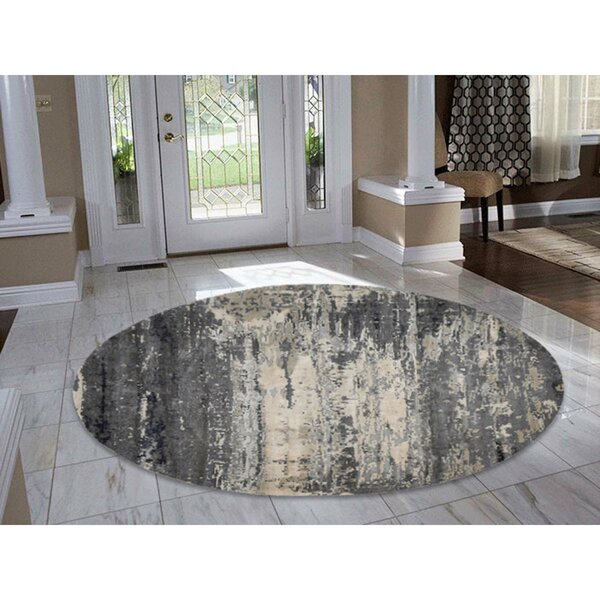 One-of-a-Kind Abstract Hand-Knotted Gray/Cream Area Rug by Williston Forge