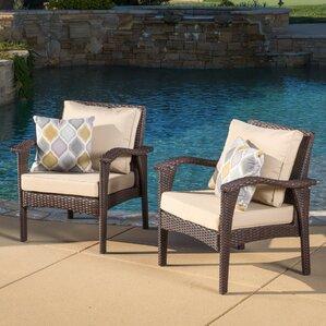 Crane Wicker Club Chair With Cushion (Set Of 2)
