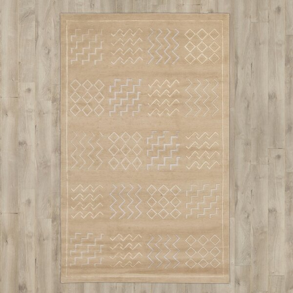 Yelisey Hand-Knotted Beige Area Rug by Bungalow Rose