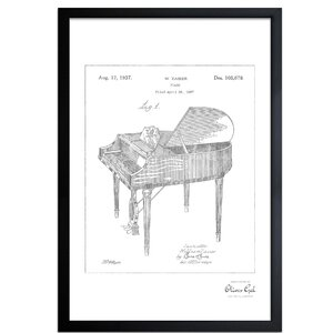 'Piano 1937 Framed' Drawing Print in Silver by Trent Austin Design