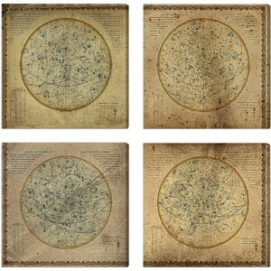 'Celestial Map XVI Century II' 4 Piece Graphic Art on Wrapped Canvas Set by 17 Stories