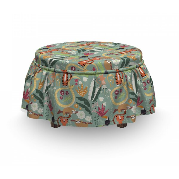 Rain Forest Animals Ottoman Slipcover (Set Of 2) By East Urban Home