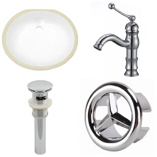 Compare prices Ceramic Oval Undermount Bathroom Sink with Faucet and Overflow ByAmerican Imaginations