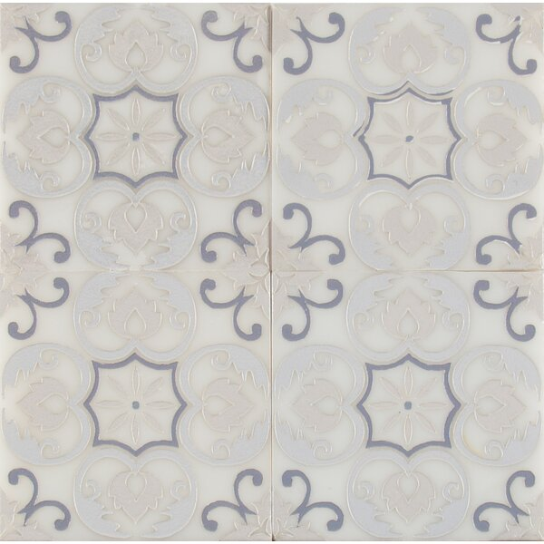 Tetris Florita Blanco 6 x 6 Marble Field Tile in White/Gray by MSI
