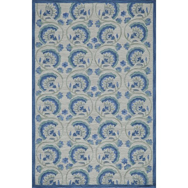 Indigo Hand-Hooked Blue Area Rug by Bungalow Rose
