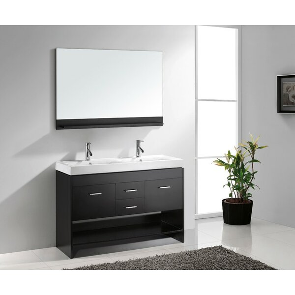 Cartagena 48 Double Bathroom Vanity Set with White Top and Mirror by Mercury Row