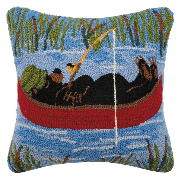 Virgil Napping Bear Hook Wool Throw Pillow by Millwood Pines