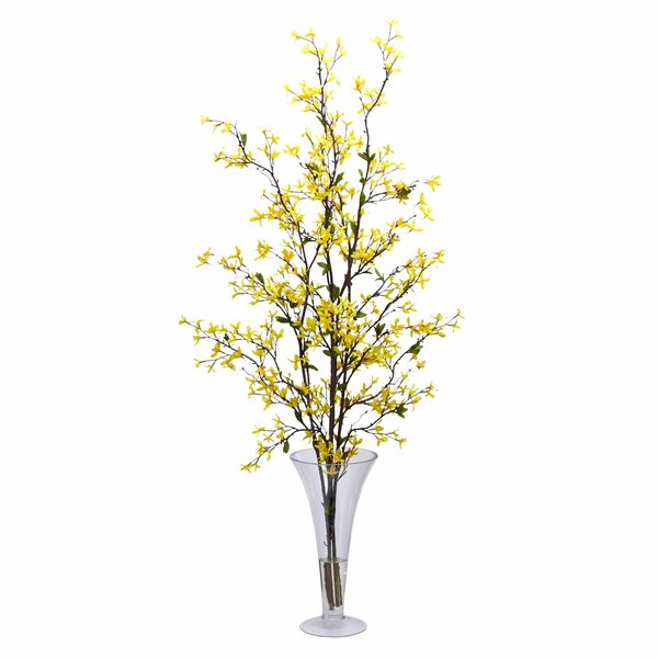 Forsythia with Vase Silk Flower Arrangement by Nearly Natural