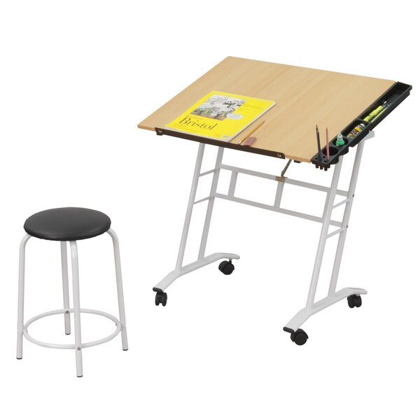 2 Piece Wood Drafting Table Set by Offex