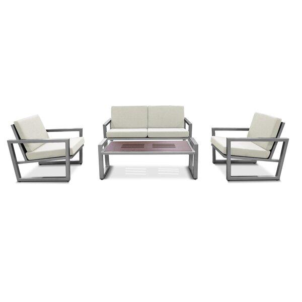 Mccaffery Vero 4 Piece Rattan Sofa Seating Group with Sunbrella Cushions by Wrought Studio