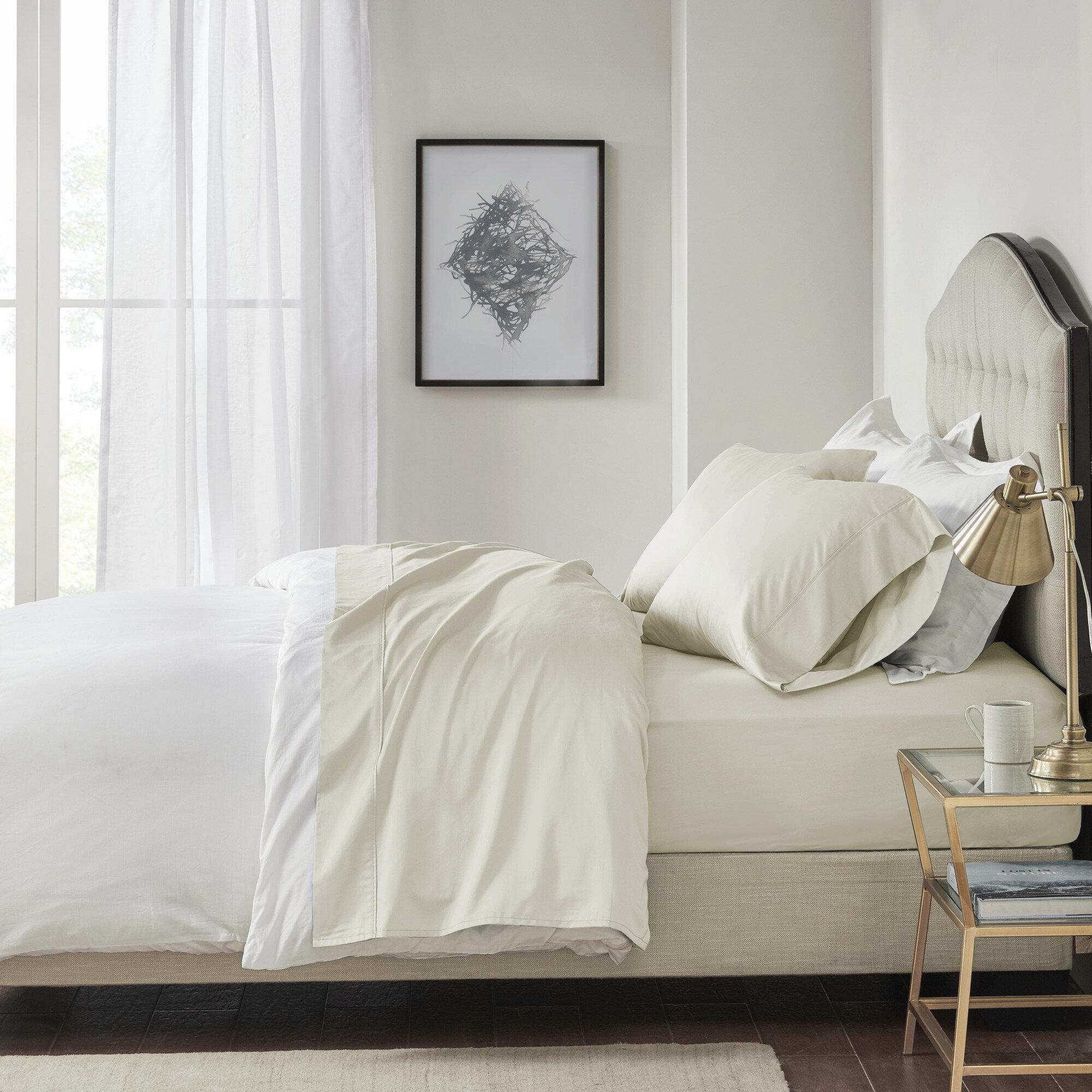 King Pointehaven 400 Thread Count Pima Cotton Bedding Set Grey