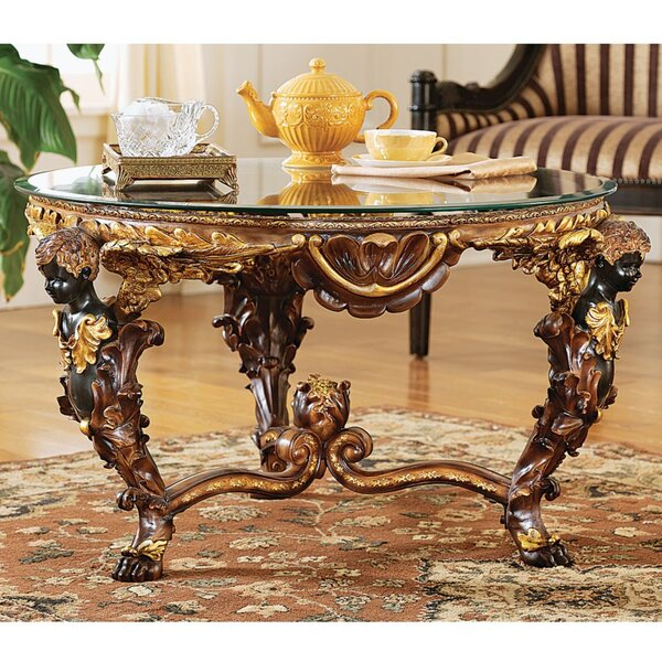 Louis Xiv Coffee Table with Glass Top by Design Toscano