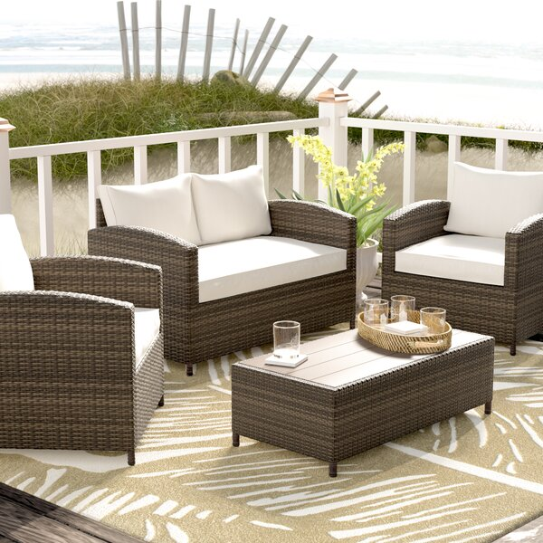 Marybeth 4 Piece Rattan Sofa Seating Group with Cushions by Beachcrest Home