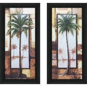 'Island Palm I' 2 Piece Framed Print Set by Bay Isle Home