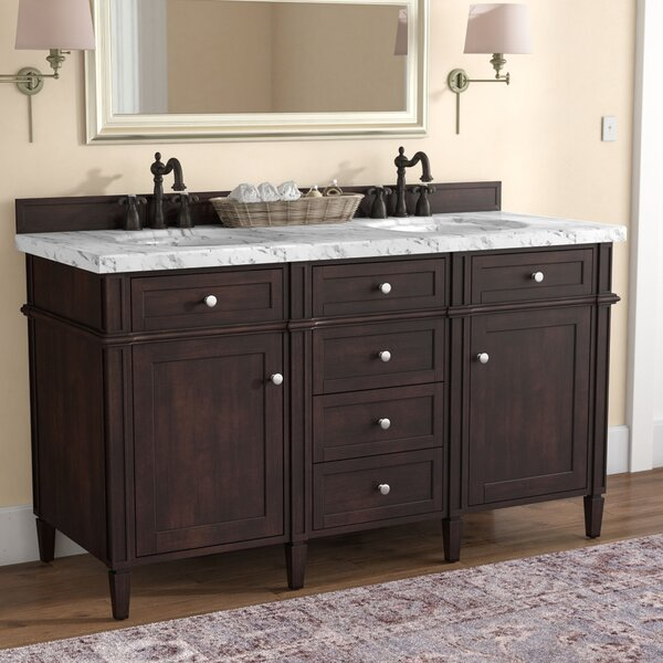 Deleon 60 Double Burnished Mahogany Wood Base Bathroom Vanity Set by Darby Home Co