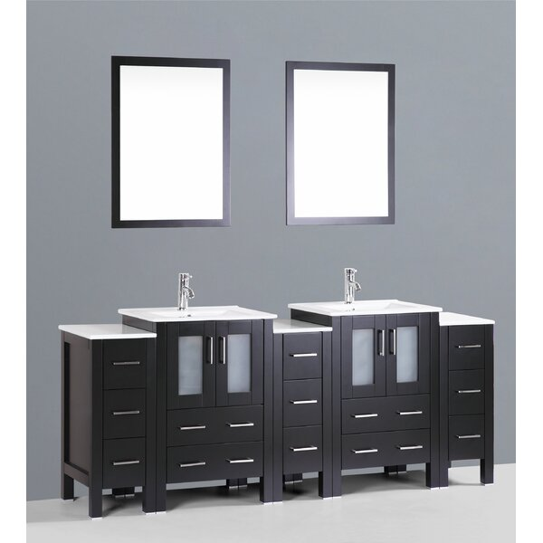 Netto 86 Double Bathroom Vanity Set with Mirror by Ebern Designs