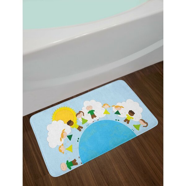 Smiling Multicolor World Bath Rug by East Urban Home