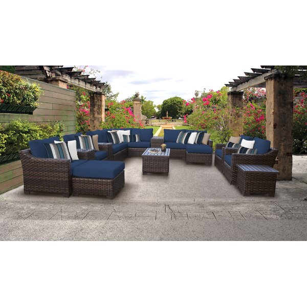 kathy ireland Homes & Gardens River Brook Sectional Seating Group with Cushions by kathy ireland Homes & Gardens by TK Classics
