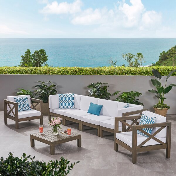 Sklar Outdoor 4 Piece Deep Seating Group with Cushions by Breakwater Bay