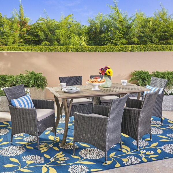 Patterson 7 Piece Dining Set with Cushions by Highland Dunes
