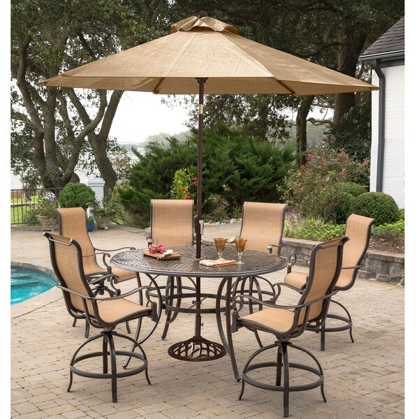 Buariki 7 Pieces High-Dining Set with Umbrella by Fleur De Lis Living