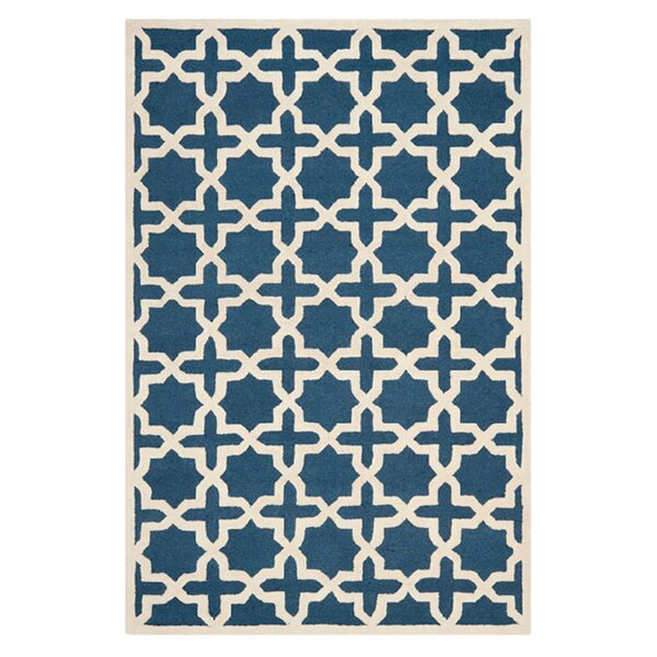 Martins Navy Blue / Ivory Area Rug by Wrought Studio