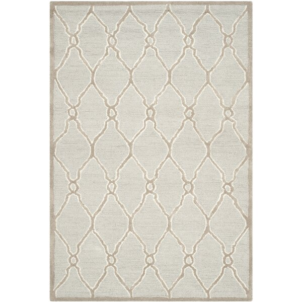 Martins Hand-Tufted Wool Light Gray/Ivory Area Rug by Wrought Studio