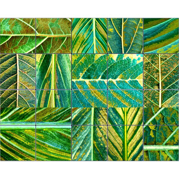 6 x 6 Glass Mosaic Tile in Green by LMT Tile Murals