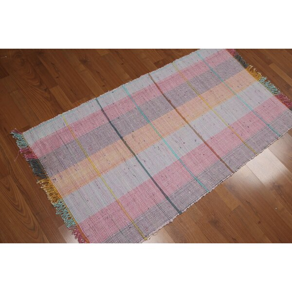 One-of-a-Kind Evans-Weekes Flat Pile Hand-Woven Pink/Blue Area Rug by August Grove
